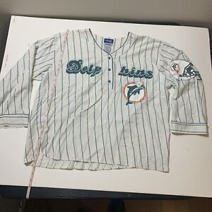 Vintage Miami Dolphins Gridiron Gurus Sleep Shirt Baseball Pajamas NFL ESLEEP XL