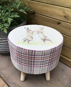 """COUNTRY FOOTSTOOL! """"BOXING HARES"""" COORDINATING LYTHMORE PLUM CHECK"""