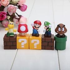 5pcs/set Super Mario Bros Mario Luigi mushroom Goomba Toad Yoshi PVC HGRsport