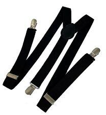 Suspenders / Gallace - Y Back Braces - Unisex Solid Black Color - 1pc