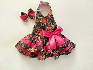 Summer floral doggie dress with matching hair band handmade size Small