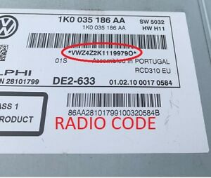 *Official* VW Radio Code Unlock BETA GAMMA RNS RCD Volkswagen Unlock Code PIN