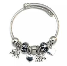Beautiful Silver Charm Bracelet Bangle Elephant Heart Black & White