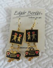 EDGAR BEREBI Earrings Dangle Pierced CAR HEARTS Color in Art Lovers Collectible