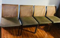 4 Paul McCobb Mid Century Lane Dining Chair Cane Back Brass Green 70's Wicker