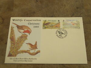 1980 Isle of Man FDC / First Day Cover, Christmas Birds - Wren & Robin