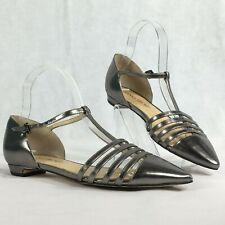 Ivanka Trump Womens Bronze Pointy Toe T-Strap Leather Flats Sz 6.5