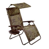 Bliss Hammocks Deluxe XL Gravity Chair Recliner With Canopy & Tray- Fern Jacquar