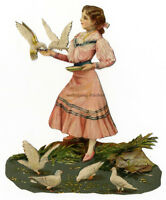 Vintage Victorian die cut paper scrap, girl with pigeons, from ca. 1880.