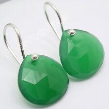 """925 Silver Beautiful Green ONYX Lovely Heart DANGLING ARTISAN Earrings 1"""""""