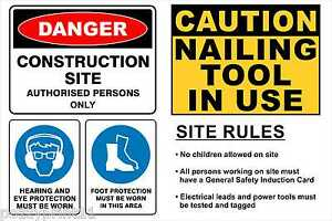 Builders Sign, Site Sign, OHS, 4 in 1 Sign, Safety Sign, Hazard carpentry