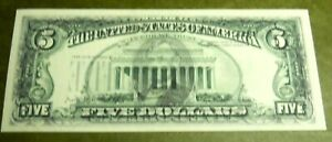 1988 $5 Federal Reserve Note STONG Offset Printing Error