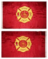 3x5 Embroidered Fire Department Fire Fighter Double Sided Nylon Flag (USA MADE)