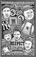 NEW YORK YANKEES Hand Signed Letterpress Graffiti Art BASEBALL BABE RUTH