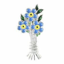 "Lila Jewellery Forget-me-not Blue Flower Bouquet Brooch Pin 1.5"" Gift Boxed"