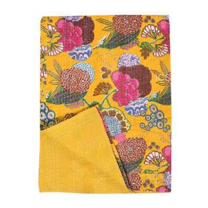 Indian Handmade Cotton Floral&Fruits Print Kantha Quilt Throw Reversible Blanket