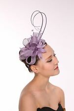 Kentucky Derby Wedding  Feather Sinamay Headband Fascinator Hat Cocktail Lilac