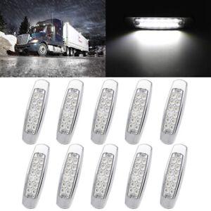 10x 12LED Side Marker White Lights for Peterbilt Cab Sleeper Freightliner Truck