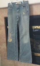 Mossimo Denim Juniors Low Rise Boot Cut Light Wash Distressed Jeans Size 5