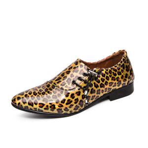 Men Lace Up Pointy Toe Pumps Leopard Slip On Faux Patent Leather Shoes Oversize