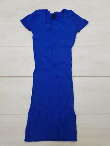 H&M Jumper Mini Dress Size 8 EUR 36 Blue Stretch Short Cap Sleeve Winter Office