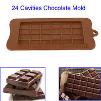 Chocolate Mold Mould Bar Block Ice Silicone Cake Candy Baking 24 Grid Square