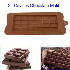 24 Grid Chocolate Candy Sugar Mould Bar Block Ice Tray Silicone Cake Bake Mold