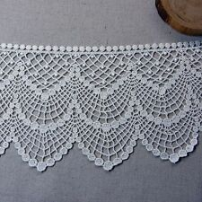 "Embroidered Cotton Lace Edge Trim Ivory 4.9""(12.5cm) Wide 1Yd"