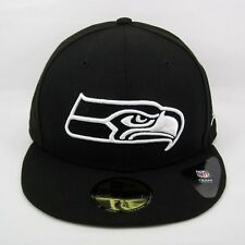 New Uomo Era NFL Seattle Seahawks Black & White 5950 montato CAP-TAGLIA 7 1/4