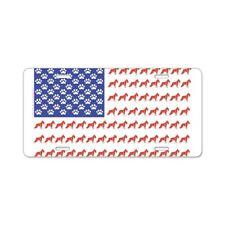 CafePress Usa Schnauzer Dog Flag License Plate (654571333)