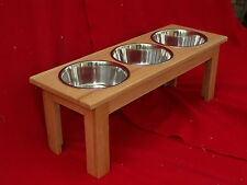"Elevated Raised Large Dog Feeder Bowl Dish Oak 12"" Triple FREE NAME & STAIN"