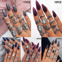 Bohemian Vintage Midi Finger Knuckle Rings Set Silver Finger Ring Jewelry BD3C