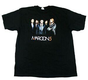 Maroon 5 Band Photo Logo 2007 Fall Tour Tee - Anvil T-Shirt - Black - 2XL