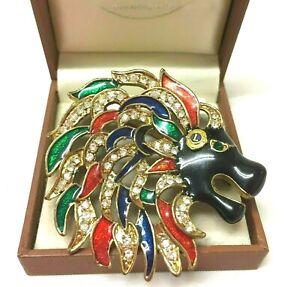 Vintage Jewellery Stunning Large Enamel & Rhinestone Lions Head  Brooch Pin