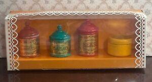 Vintage Wooden Dollhouse Bodo Hennig Tins Set Miniature 1:12  NIB Rare