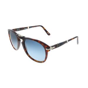 New Persol PO 0714 24/S3 Havana Folding Sunglasses Crystal Blue Polarized Lens