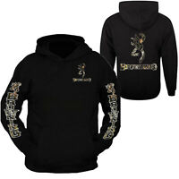 Camo Browning Design Black Hoodie Hooded Sweatshirt Front & Back S - 3XL