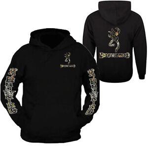 Camo Browning Design Black Hoodie Hooded Sweatshirt Front & Back S - 3XL