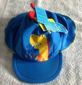 boys / girls unisex dinosaur uv upf 50+ keppi sun hat blue 2-4 years new tag