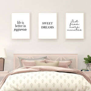 SET OF 3 A4 BEDROOM PRINTS. Wall Art Poster Picture Prints Love Romance Couple
