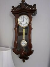 More details for mahogany wind up wall clock with pendulum by highlands