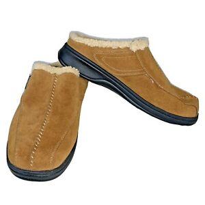 Men's Ortho Feet Diabetic Slippers Size 11.5 Wide Tan Suede Faux Fur Lined