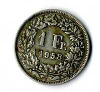 Moneda Suiza 1958 B 1 franco suizos plata .835 silver coin Helvetia