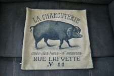 Farmhouse Pillow Cover La Charcuterie Pig French Country Beige Black Home Decor