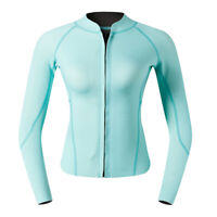 Women Top Wetsuit Long Sleeves Dive Jacket Suit for Swimming Diving Cyan