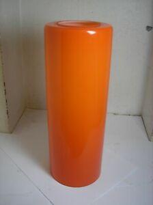 vintage cylinder Orange glass light shade  1970s  32cm long