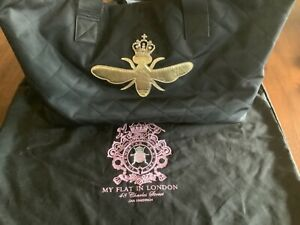 my flat in london large black quilted tote