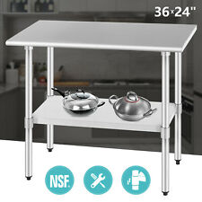 "Commercial Food Prep Work Table 24""x36"" Kitchen Restaurant Stainless Steel Nsf"
