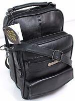 UK Mens Womens Real Leather Travel Flight Shoulder Across Body Bag Handbag black