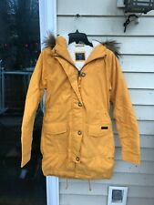 NWT Abercrombie And Fitch Women YELLOW Sherpa Lined Military Parka Coat XS $200